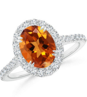 Angara Natural Citrine Gemstone Engagement Rings in Rose Gold Py2rNh2